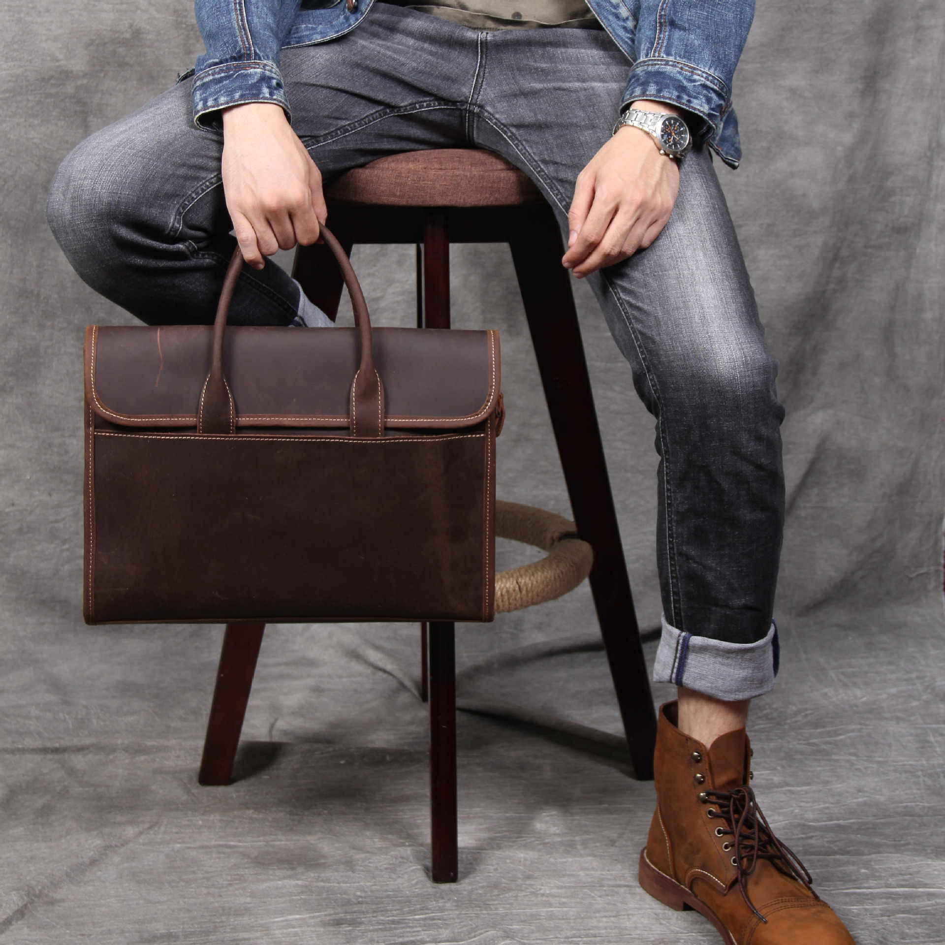 """Bolsas de Marca Designer de Moda Homens de Couro de Cavalo Louco do vintage 14 """"Bolsa de Ombro Laptop Maleta de Couro Genuíno Dos Homens Casuais"""