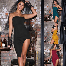 Summer Women Strapless Split Dress Medium Long Sleeveless Solid Skinny Dresses Sexy Party Nightclub Clothing