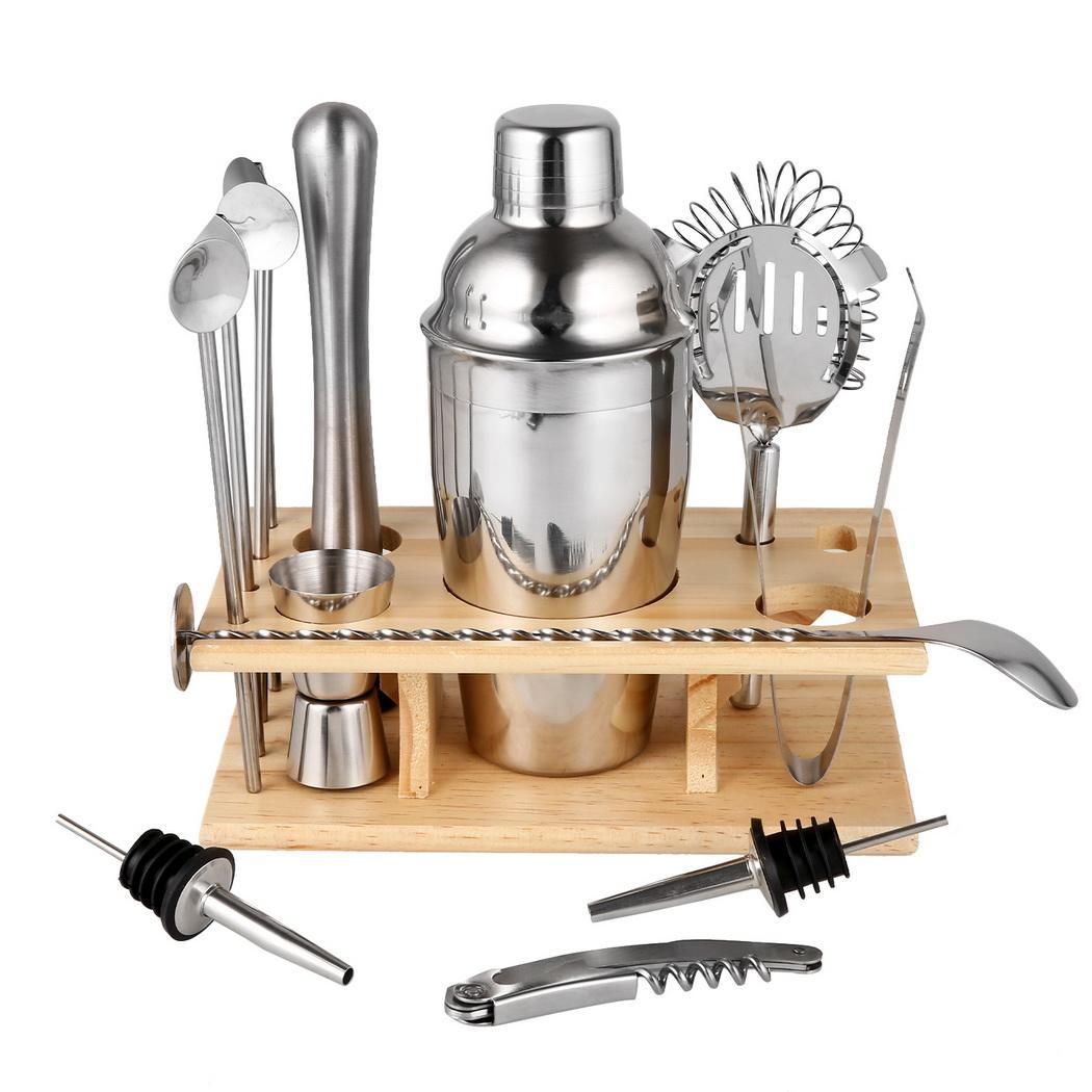 14 Piece Stainless Steel Cocktail Shaker Set Bartender Kit Bar Tools 550ml/20oz 6.7 x 4cm/2.6 x 1.6inch Barware