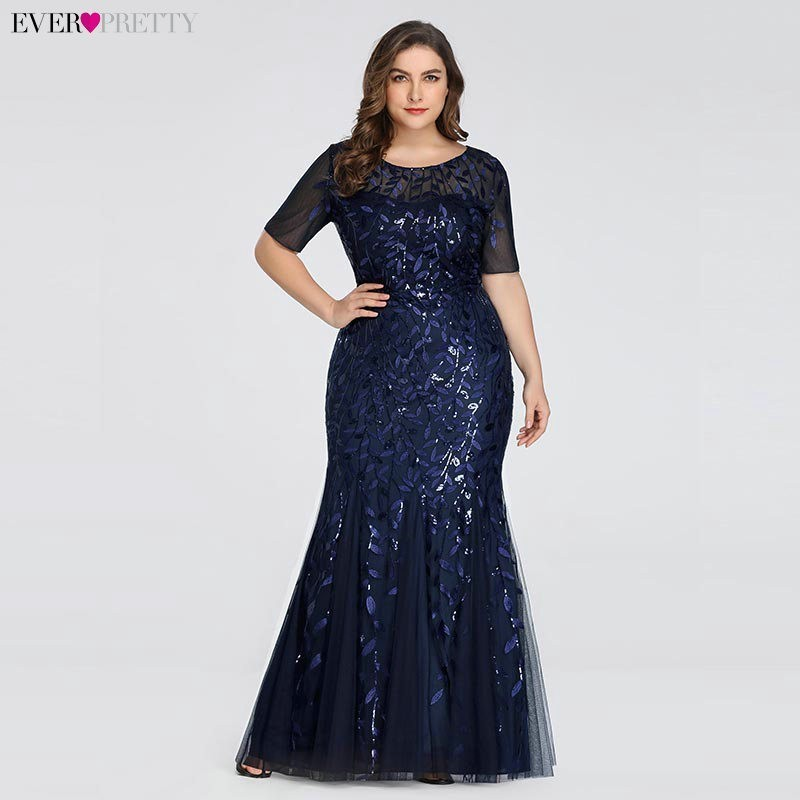 Plus Size Elegant Evening Dresses Saudi Arabia Ever Pretty Mermaid Sequined Lace Appliques Mermaid Long Dress 2019 Party Gowns(China)