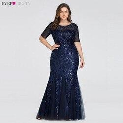 Вечерние платья с аппликациями Ever Pretty, длинное кружевное платье-русалка большого размера с пайетками, платья разных цветов для вечеринок в ...