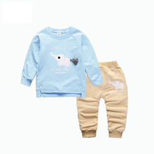 Spring Autumn Baby Boys Girls Cartoon Elephant Clothing Sets Children T-shirt Pant 2Pcs/Sets Sports Clothes Cotton Tracksuits