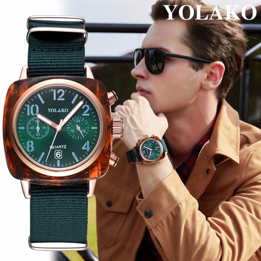 YOLAKO Brand Fashion Men Canvas Band Sports Watch Luxury Male Clock Mens Quartz Wrist Watch Relogio Masculino Best Selling
