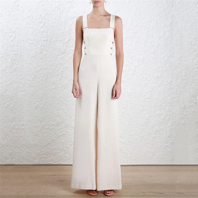 Gaine Femmes Large Haute blanc Nu Dos Casual De Jambe Avec Métal Élégant Combinaisons Noir Qualité D'été Long Australie Pantalon Courroie Salopette 7YR7xO