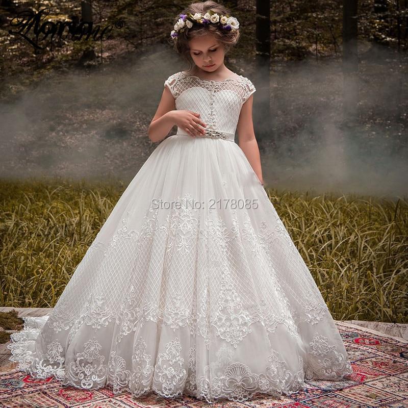 Ivory Crystal Flower Girl Dresses 2019 Custom Made Communion Dresses Vestidos Daminha Pageant Dresses For Girls Lace Applique