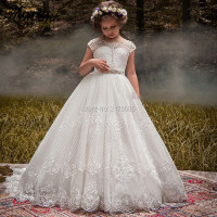 Ivory Crystal Flower Girl Dresses 2019 Custom Made Communion Dresses Vestidos Daminha Pageant Dresses For Girls Lace Applique