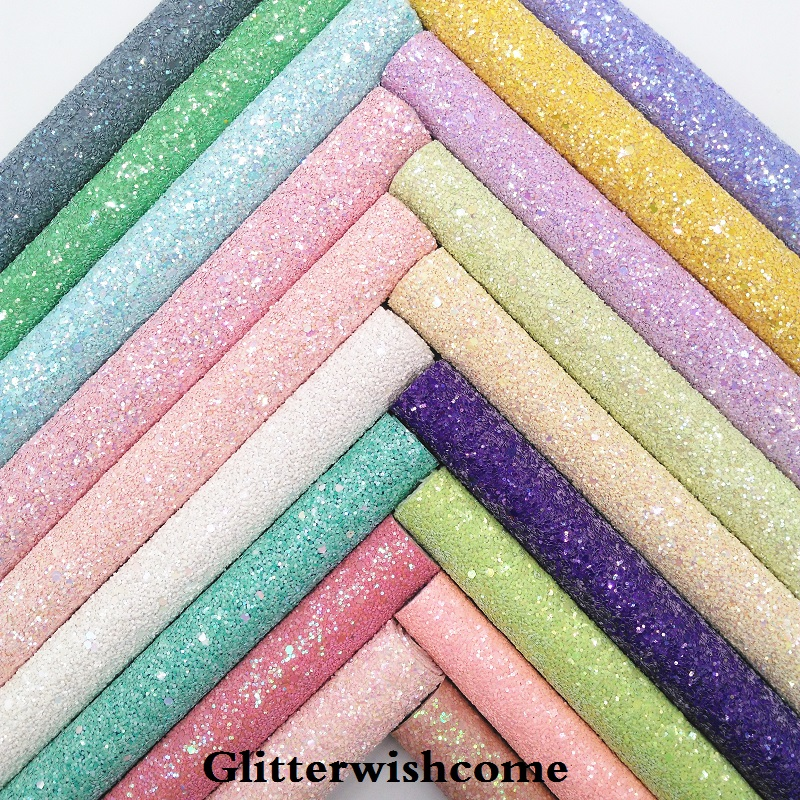 Glitterwishcome 30X134CM Mini Roll Synthetic Leather, Chunky Glitter Leather, Faux PU Leather Fabric Vinyl For Bows, GM034