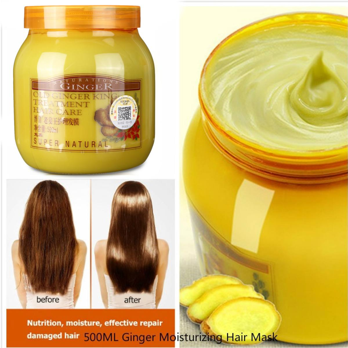 Ginger Moisturizing Hair Mask Damaged Repair Hair Care Treatment Cream Baked Ointment Hair Conditioner Dry Frizz 500ML image