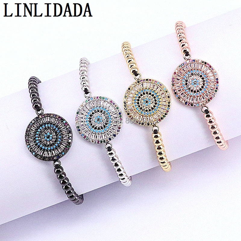 8Pcs Charm Braiding Macrame Bracelets Pave CZ Crystal Round Connector Jewelry 4mm Beads Bracelets For Women