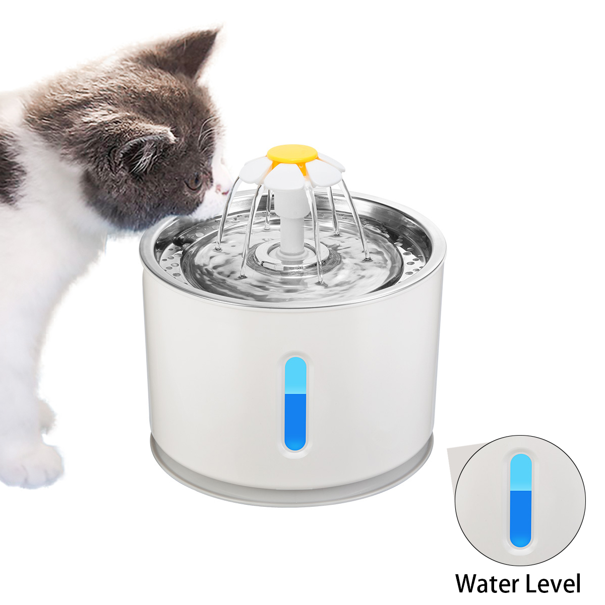 2.4l Automatic Pets Water Fountain Cat Dog Drinking Bowl Feeder Cats Water Dispenser Led Filter Purifier Safety Survival Tool