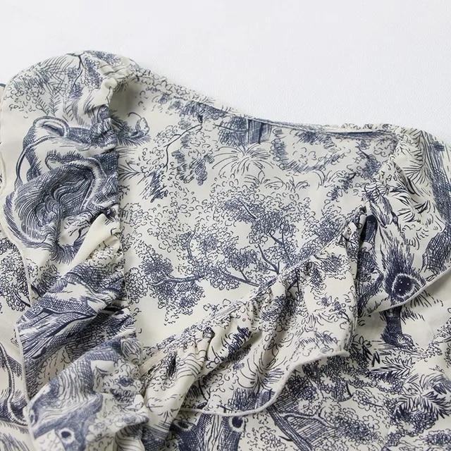TWOTWINSTYLE Elegant Print Dress For Women Ruffles V Neck Half Sleeve High Waist Big Size Long Dresses Female Spring 2019