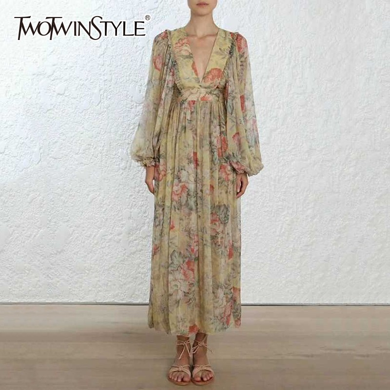 TWOTWINSTYLE Print Dress Women V Neck Lantern Long Sleeve High Waist Bandage Ankle Length Dresses Female