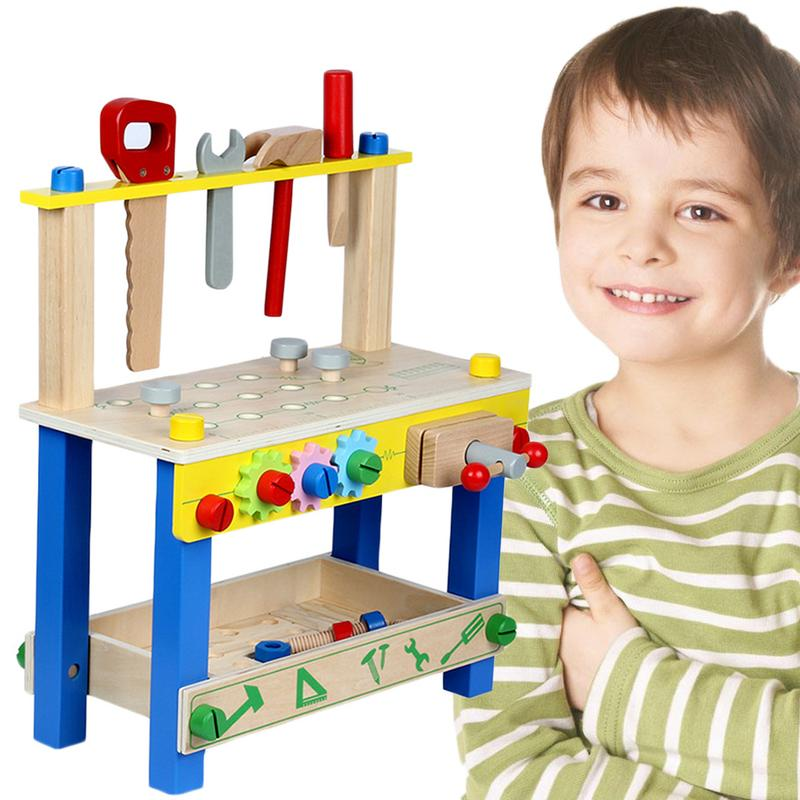 Solid Wood Project Workbench Play Nut Building Set Colorful Interactive Intelligent DIY Toy Early Education for Boys and GirlsSolid Wood Project Workbench Play Nut Building Set Colorful Interactive Intelligent DIY Toy Early Education for Boys and Girls