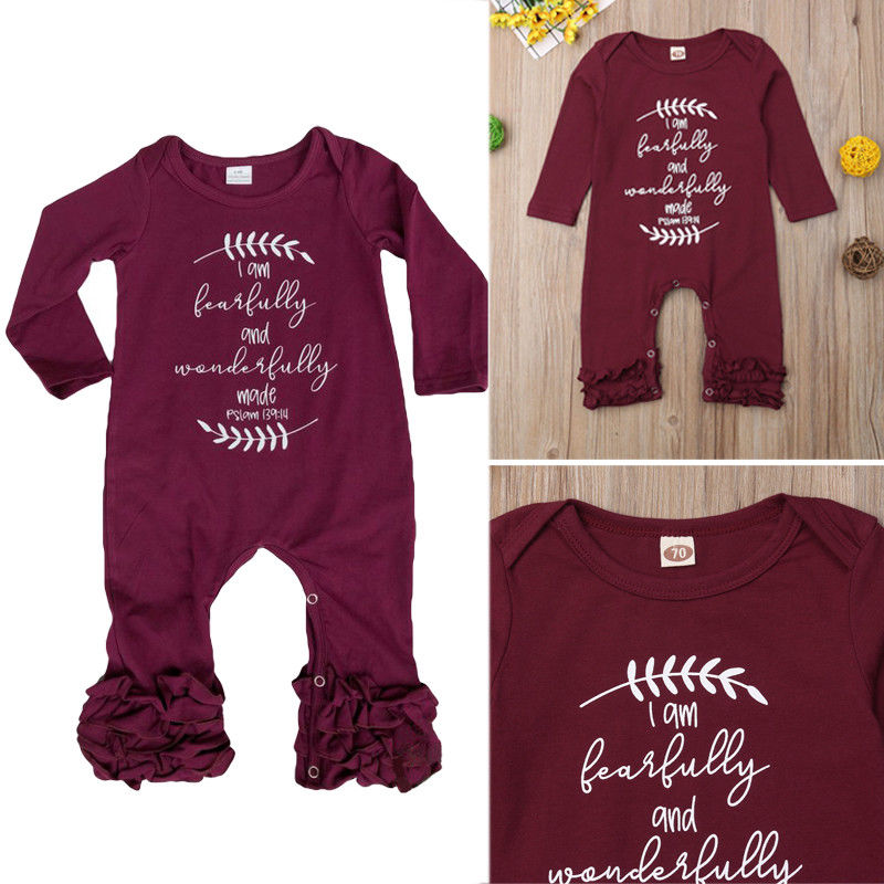 Cute Newborn Baby Girl Ruffle   Romper   Autumn Fashion Long Sleeve Letter Print O-Neck Jumpsuit Girls Casual Cotton   Rompers   0-18M