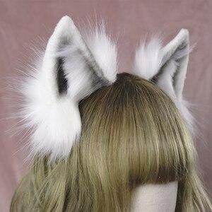Image 3 - Lolita girl hair accessories  Animal White Wolf Ears hairband for women scrunchie Headwear Hand Work
