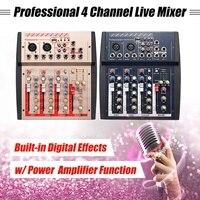 4 канальный Профессиональный для студий с живым звуком аудио микшер USB MP3 Мощность линии цифровой звук, микрофон микшерный пульт Семья KTV