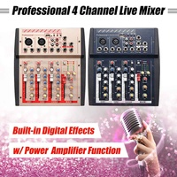 4 Channel Professional Live Studio Audio Mixer Mixing Console USB MP3 Power Line Digital Mic Sound Mixing Console Family KTV