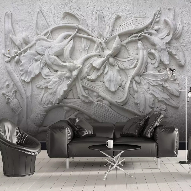 Custom 3D Mural Wallpaper European Style 3D Stereo Embossed Black White Lily Flower Home Wall Decoration Modern Wall Painting