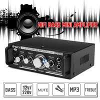 12V/220V 600W 2 Mic Stereo Speaker Mini Car Home Bass Power Amplifier HiFi MP3 Booster AK 698C EU Plug Iron 16x11.5x5.2cm