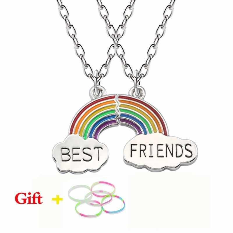 Trendy Best Friends Pendant Necklace Rainbow Broken Heart Necklace For Women Silver Chain BFF Friendship Jewelry