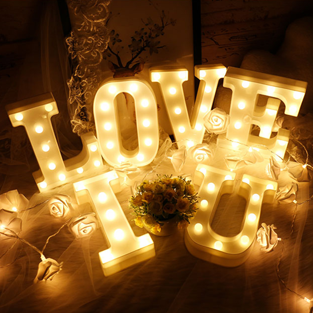 Led Lamps Collection Here White Plastic Letter Led Night Light Marquee Sign Alphabet Lights Lamp Home Club Outdoor Indoor Wall Decor Valentines Day Gift