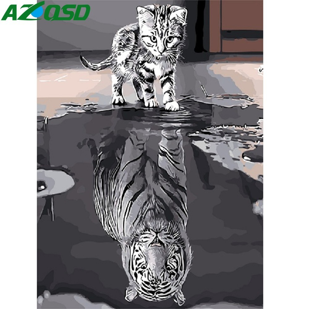 AZQSD Modern Oil Painting By Numbers Cat Tiger DIY Hand Painted Canvas Wall Picture Art Animal Home Decoration SZYH6332