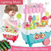 Creative Children Role Play Music Light Toy Popcorn Music, Ice Cream Trolley Set Made of plastic material.
