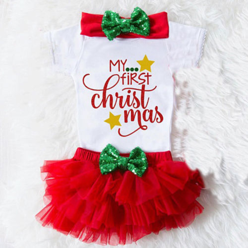 My 1st Christmas Baby Girls Princess Romper+Tutu Ruffle Short Bloomer Clothes UK my first christmas bodysuit