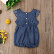 Baby Girls Denim Romper Ruffles Short Sleeve Jumpsuits