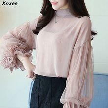 2019 fashion chiffon blouse women shirt lace ladies tops long sleeve clothing blusas Xnxee