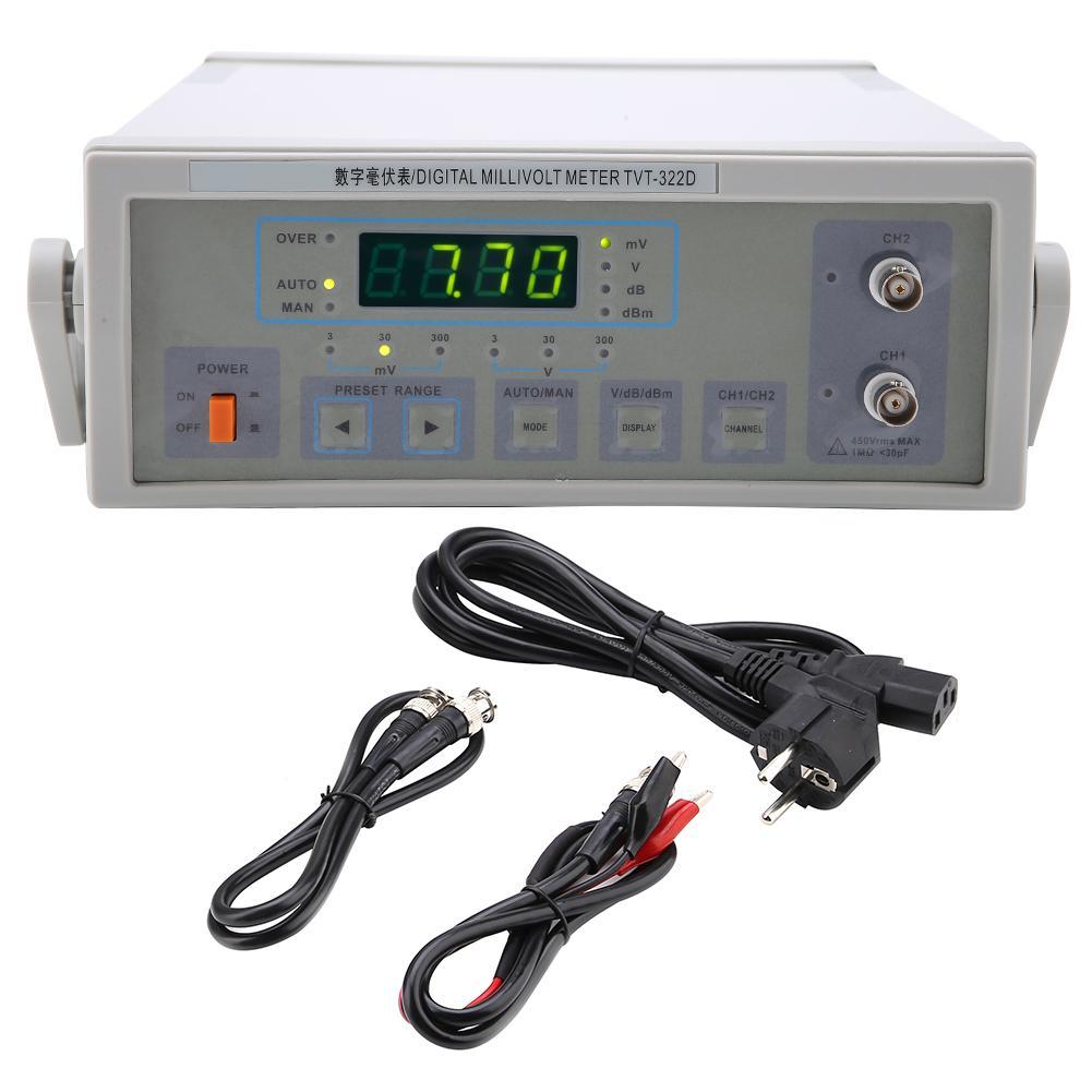 LW 322D Auto Manual CH1 CH2 Digital Millivoltmeter EU Plug AC220V 10Hz 2MHz Electrical Instrument