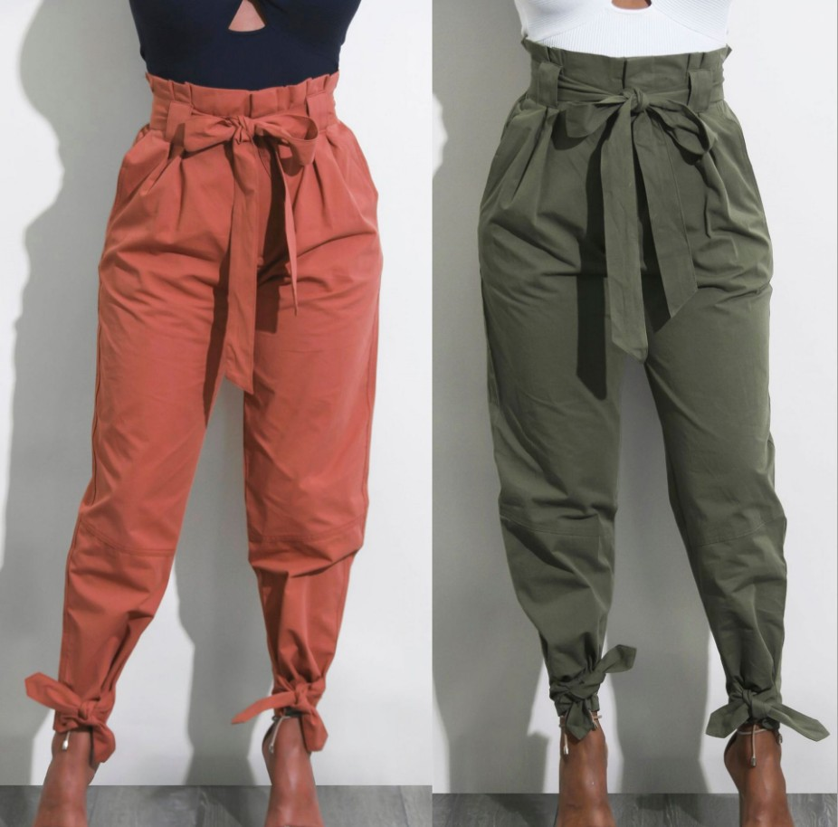 Women High Waist Casual Pants Fashion Ladies Bowknot Long Slim Skinny Pants Bandage Elastic Pencil Trousers With Sashes
