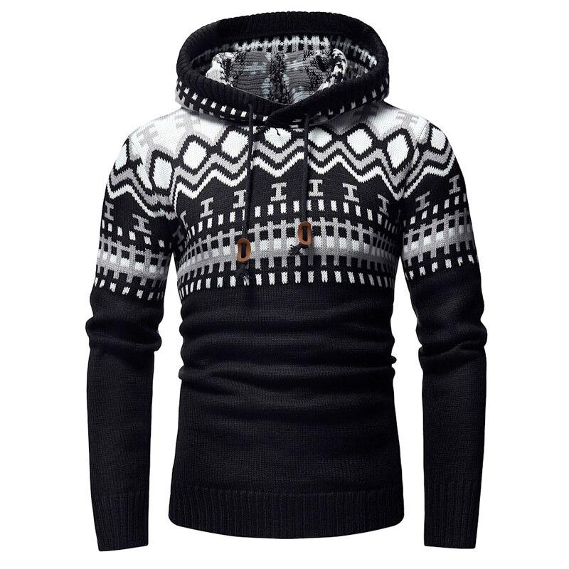 2019 nouvelle impression personnalité à capuche hommes tricot chandails mâle chandail mode sauvage pull pull pour hommes épais et chaud manteau