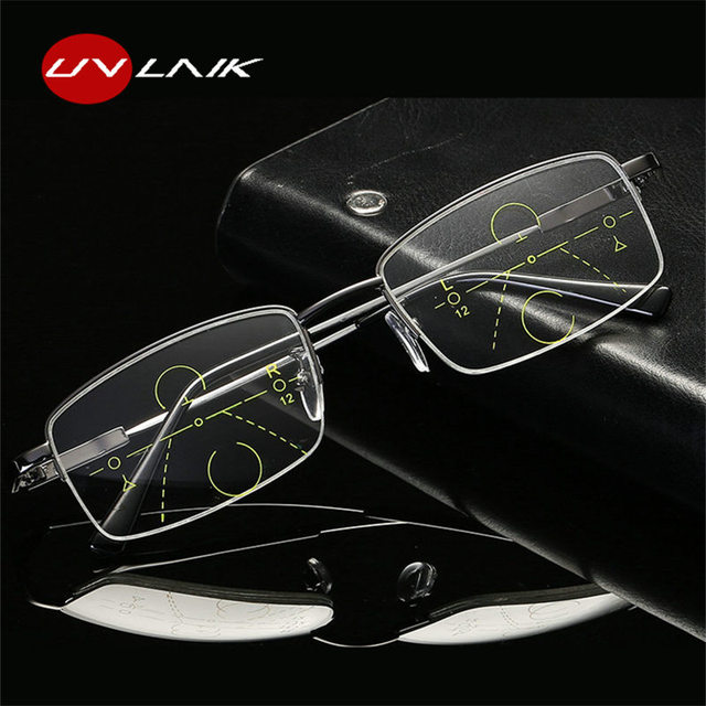 UVLAIK Titanium Progressive Multifocal Glasses Men Half Frame Memory Aolly Reading Glasses Man Hyperopia Prescription Eyeglasses