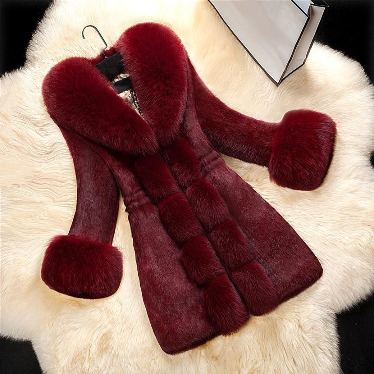 2018 New Arrival Women Long Sleeve Solid Overcoat Elegant Turn-  Down   Collar Warm   Coat   Winter Faux Fur Thick Long Outwear