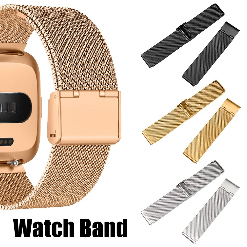 Stainless Steel Mesh Replacement Wrist Watch Band Strap Bracelet Magnetic Closure For Fitbit Versa Wristband Accessories 2019-in Smart Accessories from Consumer Electronics