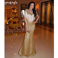 YNQNFS E5 Fashion Mermaid Crystal Dress Gold Sequin Gown Luxury Evening Dress 2019