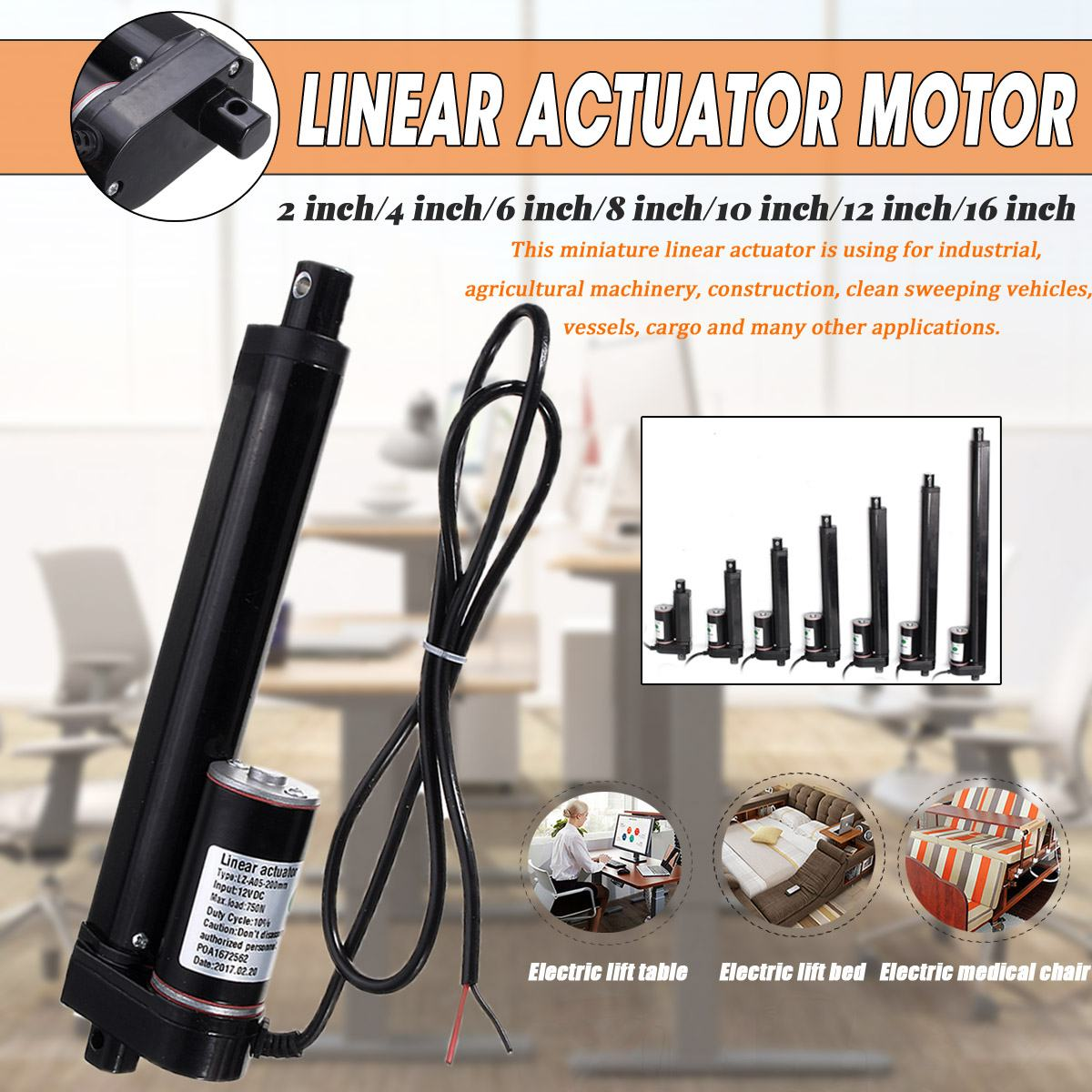 12V Heavy  750N 2-16 inch 50-400MM Stroke Electric Linear Actuator Motor Lifting Tools DC Motor Excellent Workmanship12V Heavy  750N 2-16 inch 50-400MM Stroke Electric Linear Actuator Motor Lifting Tools DC Motor Excellent Workmanship