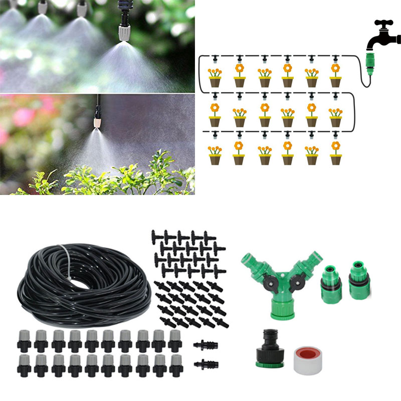 Image 2 - High Quality Spray Nozzle 20M Misting Cooling System For Outdoor Patio Garden Greenhouse Irrigation Spray Kit Set Garden Tools-in Sprayers from Home & Garden