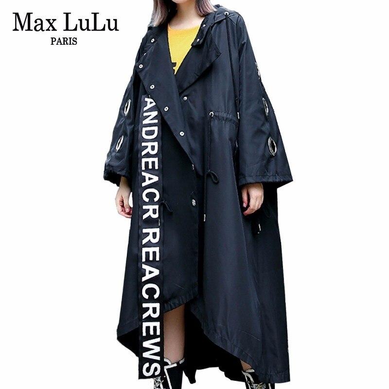 Max LuLu Spring 2019 Luxury Korean Designer Ladies 3d Tiger Punk Windbreaker Womens X-long Black   Trench   Vintage Hooded Rain Coat