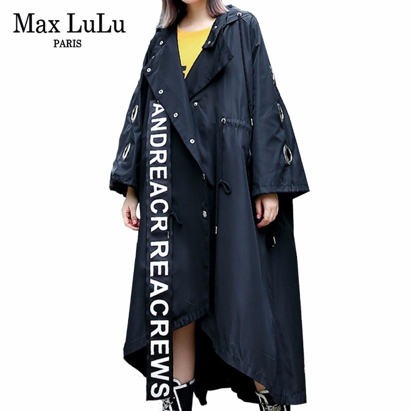 Max LuLu Spring 2019 Luxury Korean Designer Ladies 3d Tiger Punk Windbreaker Womens X-long Black Trench Vintage Hooded Rain Coat