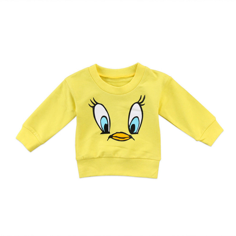 Cartoon T-Shirt Sweater Long-Sleeve Pretty Baby-Girls Yellow Toddler Boy Kids Top Round-Neck