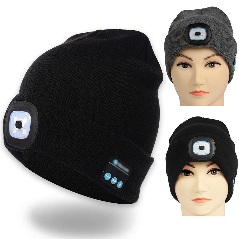 ad7ca146999b0 LED Lighting Hat Bluetooth Cap with Headlight USB Rechargeable Musical  Speaker Wireless Winter Warm Knit Hat