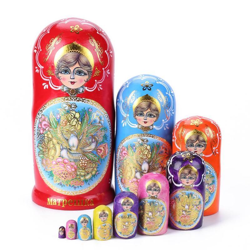 10 couches bébé jouet nidification poupées en bois russe Matryoshka décor nidification coloré poupées en bois russe poupées pour cadeaux d'anniversaire - 2