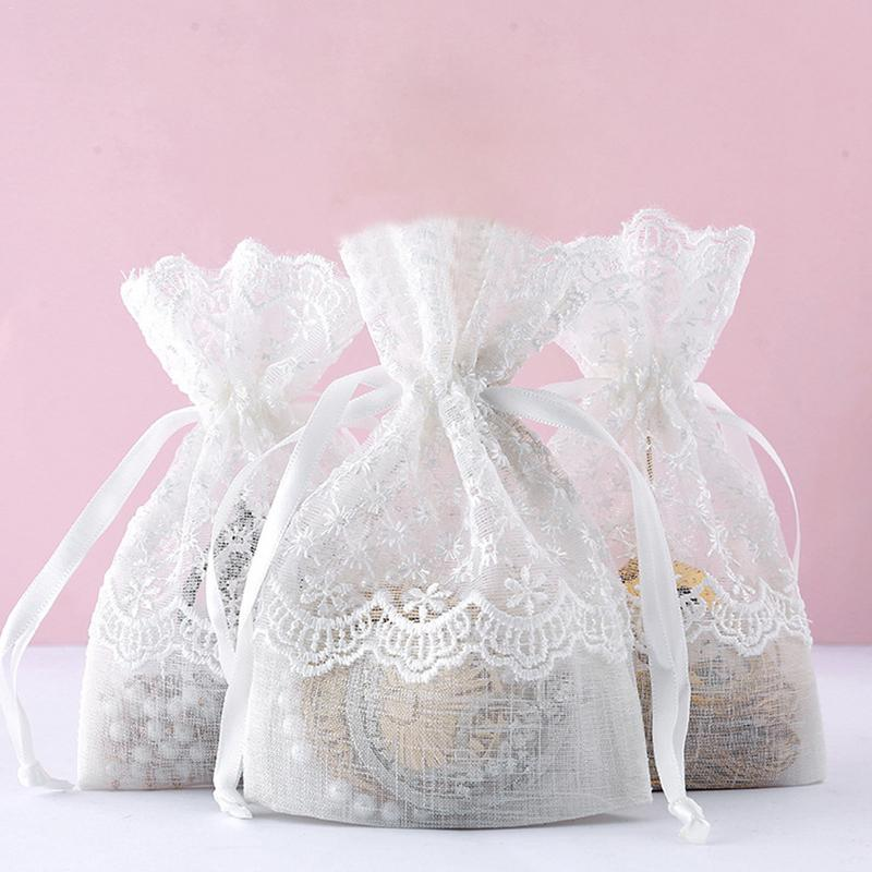 Lace Bundle Pockets Candy Bags Pearl Yarn Jewelry Gift Bags Ring Stud Earrings Bracelet Necklace Storage Bag