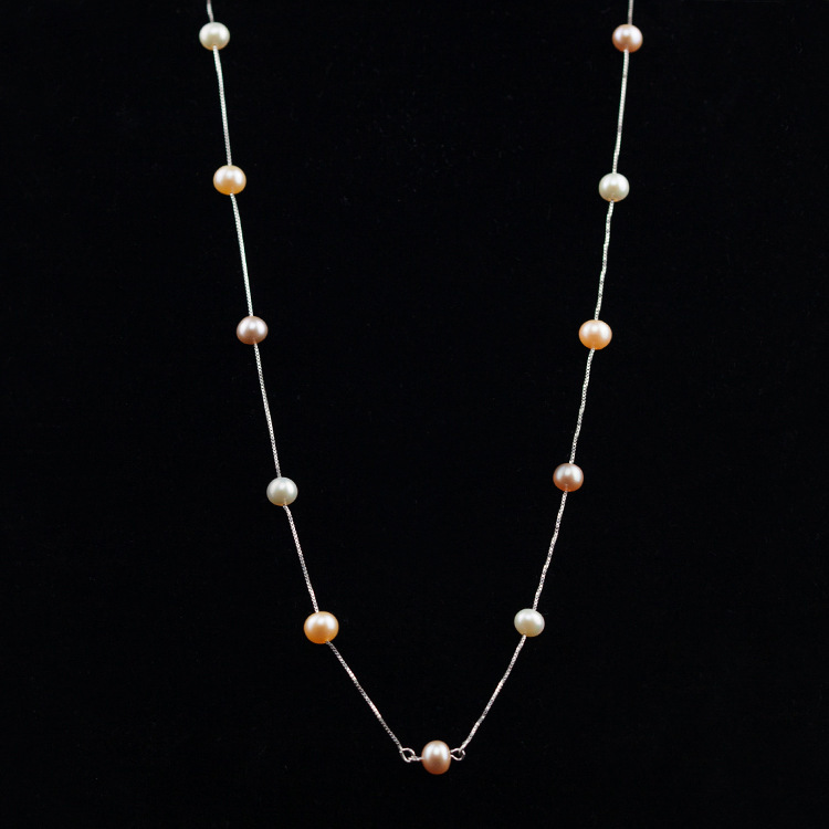 Natural Pearl S925 The Silver Chain Classic Pearl Long Money Chain Sweater Chain Product faux pearl beaded pendant sweater chain