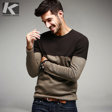 Autumn Mens Sweaters Cotton Patchwork Khaki Knitted Fashion Brand Clothing Man Knitwear Pullovers Male Knitting Clothes 15838