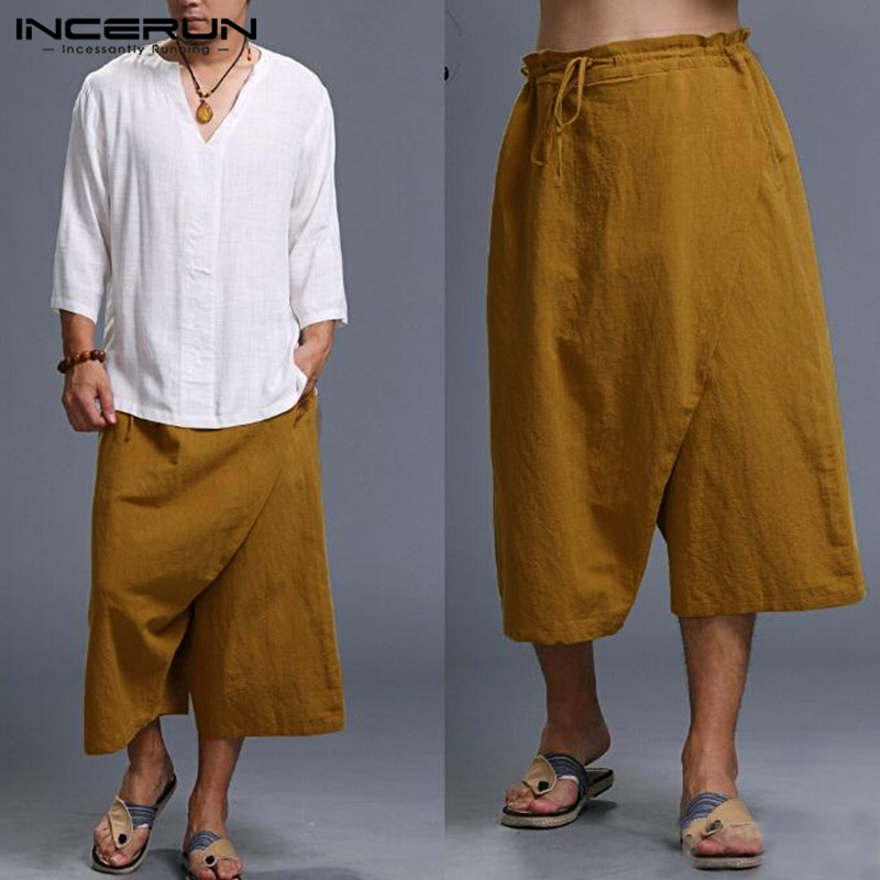 Harajuku Men Pants Solid Big Irregular Crotch Harem Pants Calf Length Drawstring Wide Leg Baggy Vacation Beach Trousers Pantalon