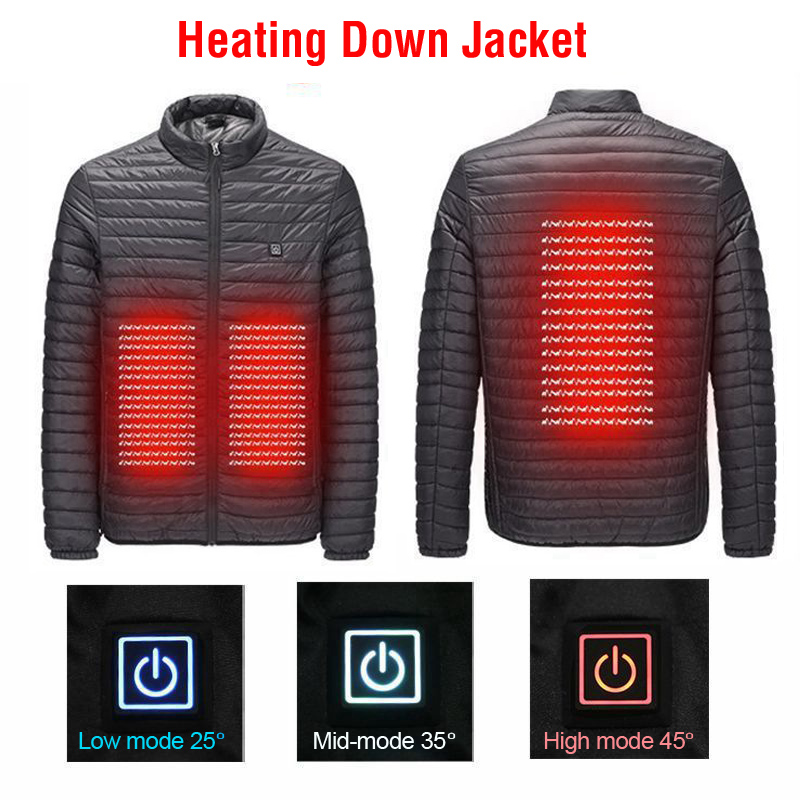 THE ARCTIC LIGHT Men's Winter USB Heated Jacket Outdoor Hiking Winter Body Warm Jacket Electric Heating Warm Coat Clothes