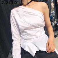 Z ZOUX Women Blouse Cotton White Shirt Skew Collar Long Sleeve Irregular Hem Women Tops Women Asymmetrical Top White Spring New